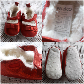 PEP & Co. RED GLITTER BABY'S SHOES 3-6MTHS