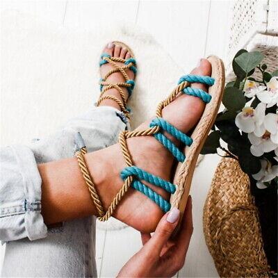 Tie Platform Sandal (Womens Ladies Flat Espadrille Lace Tie up Sandals Platform Summer Shoes US STOCK )