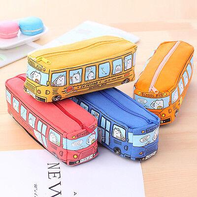 Cute Animals School Bus Pencil Case Makeup Bag Large Capacity  Storage Canavas - Animal Pencil Case