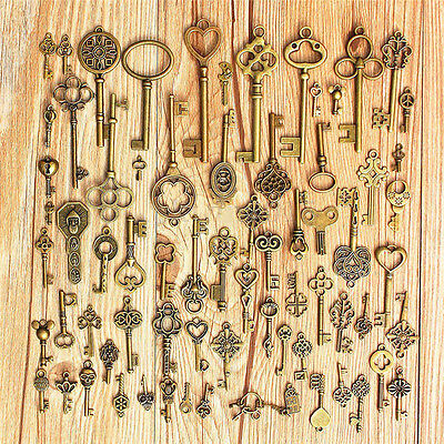 Setof 70 Antique Vintage Old LookBronze Skeleton Keys Fancy Heart Bow PendantNJU