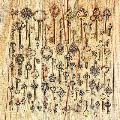 Setof 70 Antique Vintage Old LookBronze Skeleton Keys Fancy Heart Bow PendantNS!
