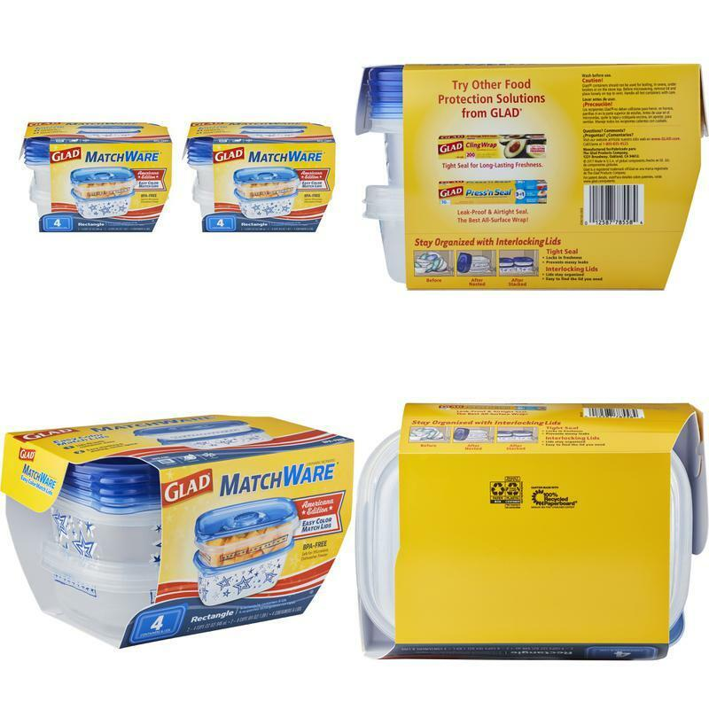 Glad Food Storage Containers, Matchware Rectangle, Two 32-O