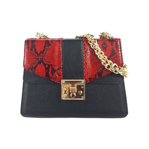 Exotic genuine python  leatherand  red calf leather Bag