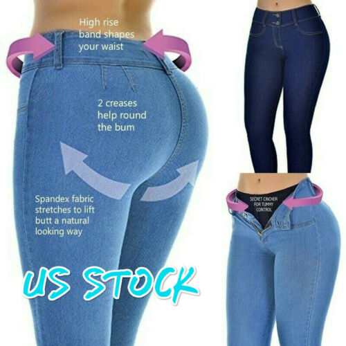 Women High Waisted Jeans Leggings Femme Washed Casual Skinny