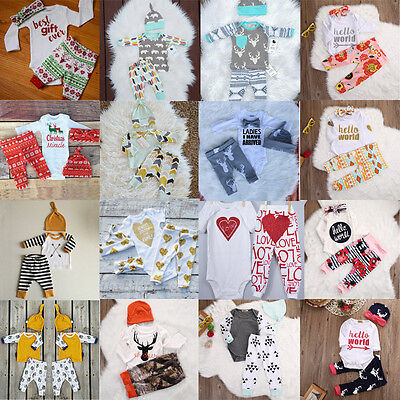 US New Christmas Newborn Baby Kids Boy Girls Cotton Romper Top Pants Outfits Set - Kids Christmas Outfits