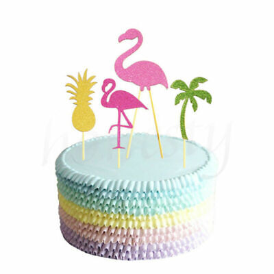 5pcs Cupcake Topper Sticks Cake Party Decor Flamingo Hawiian Tropical Pineapple](Cake Decorating Sticks)