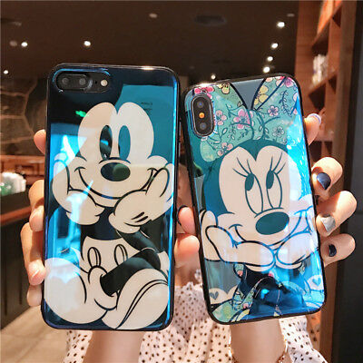 Cute Mickey Minnie Mouse Case Fr iPhone Xs Max X 8 Blu Ray Glossy Cartoon Cover (Minny Mouse)