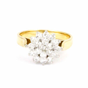 18k Yellow Gold Cluster Style Diamond Ring, Size 6, Estate #3798