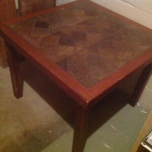 Solid wood small/coffee table with ceramic inset