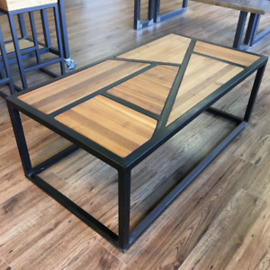 Modern walnut coffee table w/ a black metal frame
