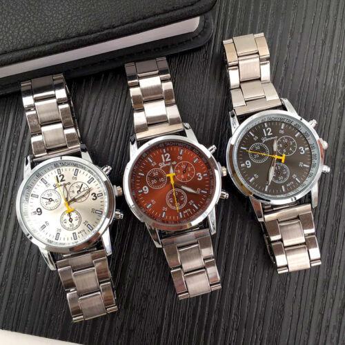 $3.06 - Geneva Men's Luxury Round Dial Stainless Steel Band Analog Quartz Wrist Watch US