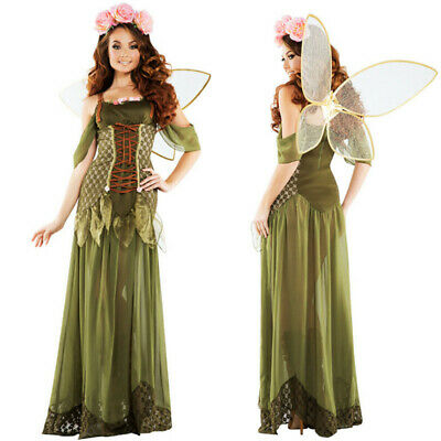 Ladies Tinkerbell Costume Fairy Princess Forest Woodland Green Elf Dress Wings