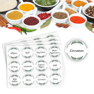 48 x Herb and Spice Jar Labels Vinyl Stickers Waterproof Washable – 38mm round
