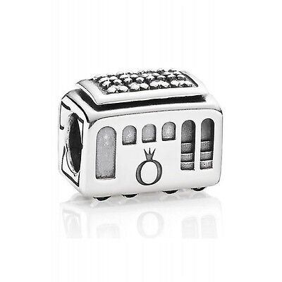 Authentic Pandora Charm Sterling Silver Cable Car Bead 791219CZ