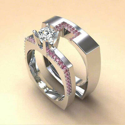 2pcs/set Women 925 Silver Wedding Rings Jewelry White Sapphire Ring Size 6-10 2 Ring Wedding Set