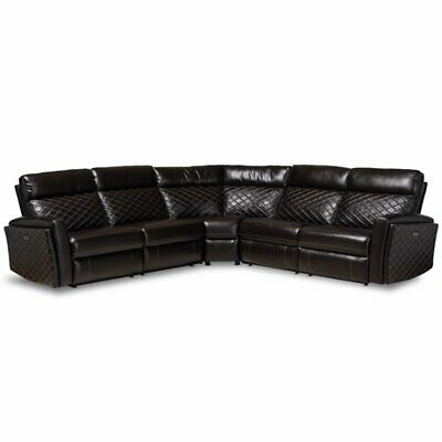 Baxton Studio Alvar Faux Leather Reclining Corner Sectional