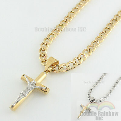 Mens stainless steel Gold Silver cuban jesus cross pendant necklace chain Link - Necklace Cross