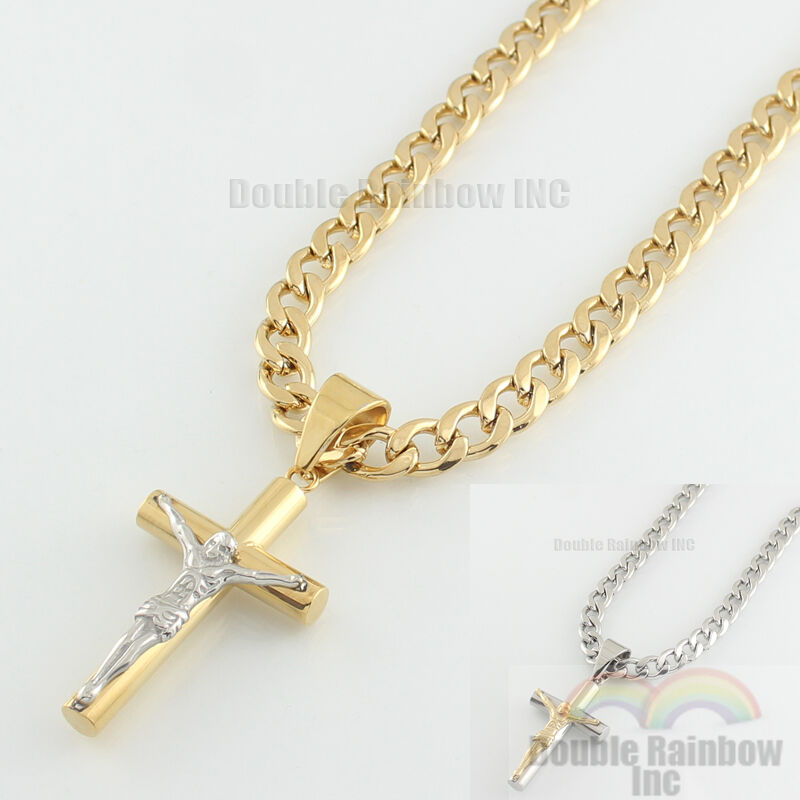 Mens stainless steel Gold Silver cuban jesus cross pendant n