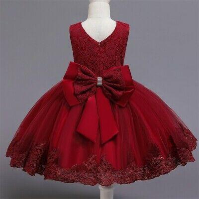 Flower Girl Dress Red Lace Princess Bow Baby Wedding Birthday Party -