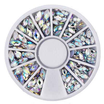 Strass Rondell Kristalle AB oval 2 Größen irisierend Display Nailart Gel Acryl