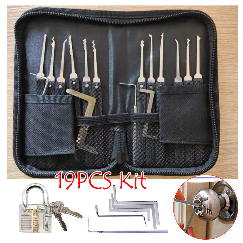 Single Hook Lock Pick Set Key Extractor Transparent Practice Padlocks 19 PCS