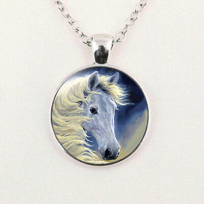 White Horse Glass Cabochon Pendant Necklace Chain Jewelry Gift