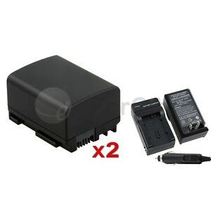 2x Battery + Charger BP-808 for Canon FS10 FS100 FS11 FS22 FS21 FS200 FS11