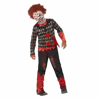 Clown Zombie Halloween (Child Deluxe Zombie Clown Costume Boys Scary Halloween Fancy Dress Outfit Kids)