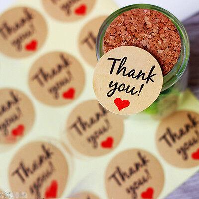 60pcs Heart Thank You Kraft Seal Sticker Label For Wedding Envelope Card Boxes