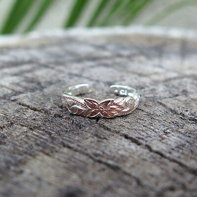 Hawaiian Sterling Silver Flower Scroll Toe Ring 4mm Rose Gold Plated TR1047