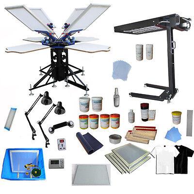 4 Color Silk Screen Printing Kit Flash Dyer Exposure Press Machine Materials