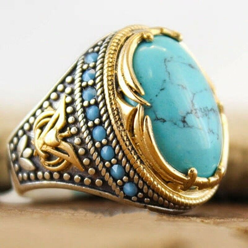 Men's Women's Ring Turquoise Gemstone Gold Silver Large Oval Handcrafted Artisan