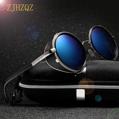 Vintage Steampunk Blue Mirrors Polarized Sunglasses Women Fashion Round Eyewears