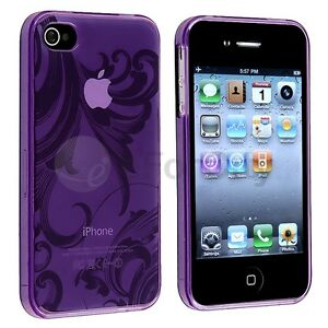 Clear-Purple-Flower-TPU-Rubber-Skin-Soft-Gel-Case-Cover-for-iPhone-4-G-4th-4S