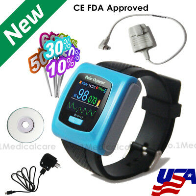 Usps Wrist Pulse Oximeter 24h Daily Night Recorderpc Software With Alarmfda Ce