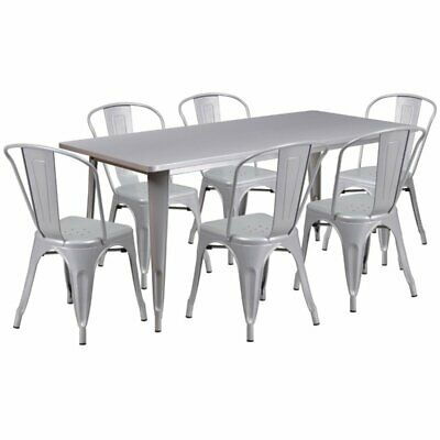 Flash Furniture 7 Piece Metal Dining Set in Silver