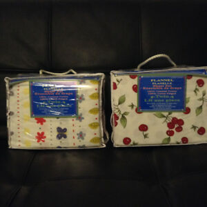 Never opened, flannel sheet sets, twin %100 cotton