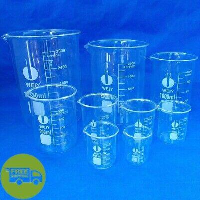 Clear Borosilicate Glass Beakers Chemistry Glassware Laboratory Glass Beaker Set