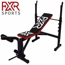FXR SPORTS ADJUSTABLE WEIGHTS BENCH WITH RACK INCLINE DECLINE FLAT LEG BAR GYM