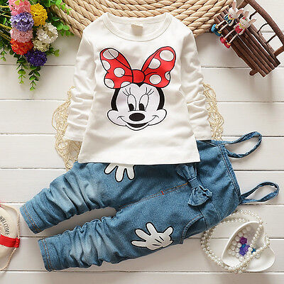 Girls Baby Minnie Mouse Tops T-shirt Bib Denim Pants Outfits Set Costume - Infant Minnie Mouse Costume