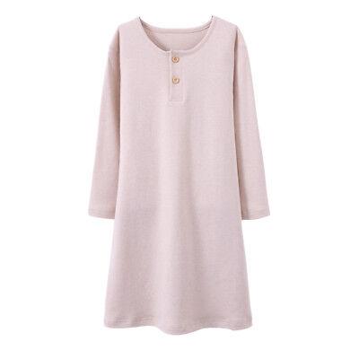Girls Kids Organic Cotton Nightgown Sleepwear Dress Long Sleeve Soft Wear