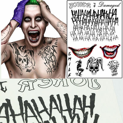 Halloween Batman The Joker Temporary Tattoos Suicide Squad Costume Fancy Dress - Suicide Squad Joker Costume Halloween
