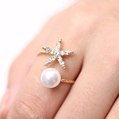 Women Ring Starfish Flower Pearl Crystal Finger Adjustable Open Ring Jewelry Hot