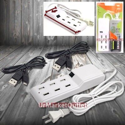 6FT Cable 6xUSB Socket Port Output Power Adapter + 2x Cable Micro USB Galaxy S4