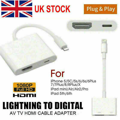 Lightning To HDMI Digital TV AV Adapter Cable For iPad iPhone 11 8 7 Plus Xs X