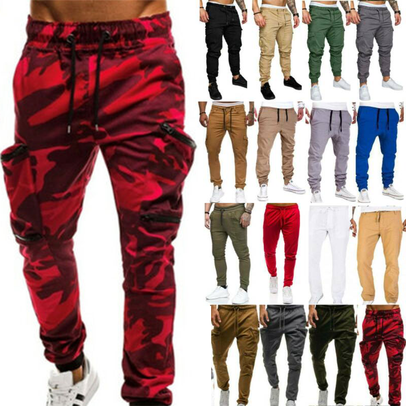 Men Cargo Pockets Sports Trousers Jogging Joggers Elastic Bo