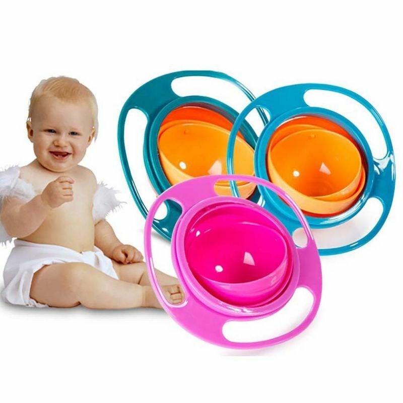 Toddler Kids 360 Rotating Bowl Magic Infant Baby Gyro Portable No-Spill Feeding-