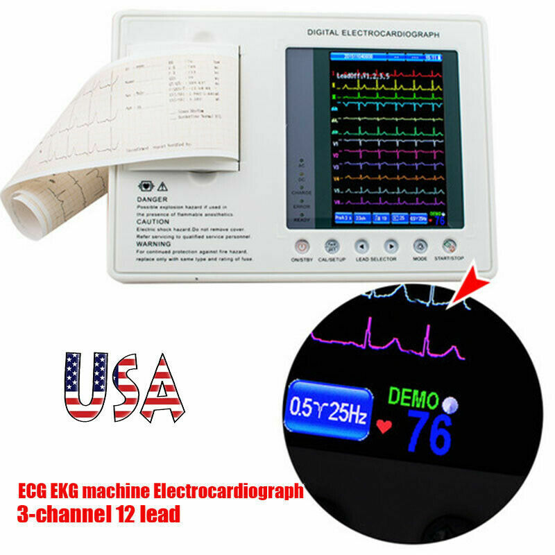 Digtal 3 Channel 12 Lead Electrocardiograph ECG/EKG Machine Interpretation Set