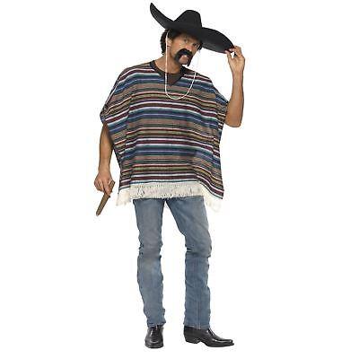 Erwachsene Herren Echt Mexikanischer Bandit Blau Poncho Kostüm Verkleidung