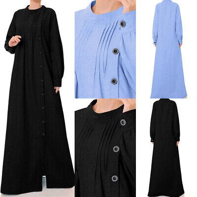 UK Women Muslim Maxi Dress Dubai Abaya Robe Islam Kaftan Cotton Long Sleeve 8-26
